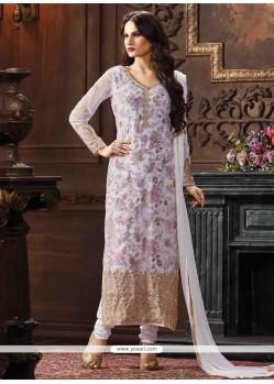 Excellent Print Work Lavender Georgette Pant Style Suit