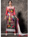 Fab Multicolored Faux Georgette Churidar Suit