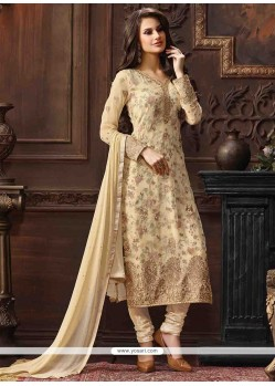 Exciting Embroidered Work Churidar Designer Suit