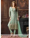 Mesmeric Embroidered Work Sea Green Churidar Designer Suit