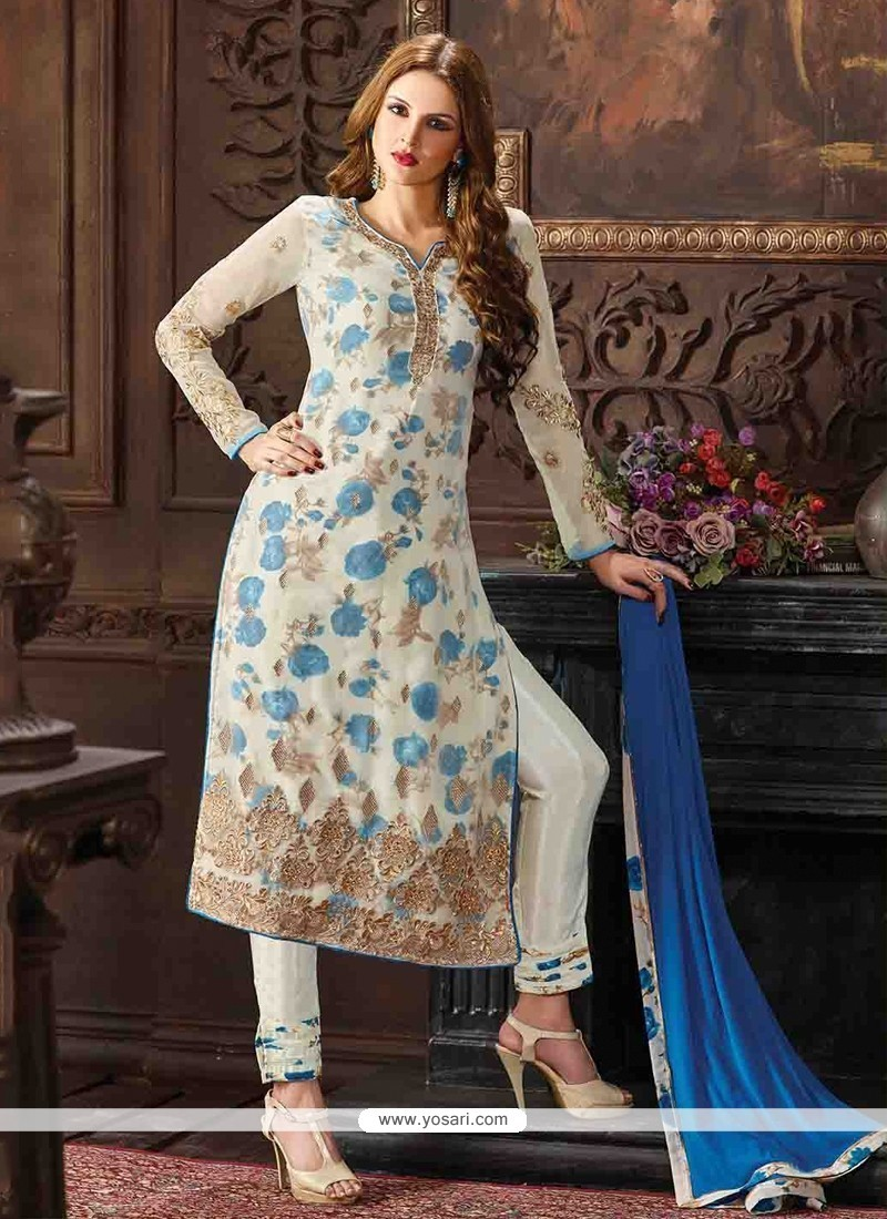 Striking Georgette Embroidered Work Pant Style Suit