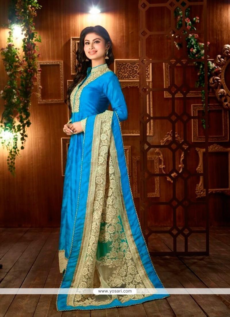 Glamorous Embroidered Work Blue Silk Designer Suit