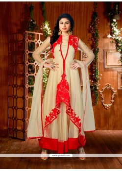 Affectionate Beige Embroidered Work Net Designer Suit