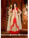 Affectionate Beige Embroidered Work Net Designer Suit