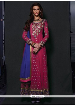Imperial Pink Embroidery Anarkali Suit