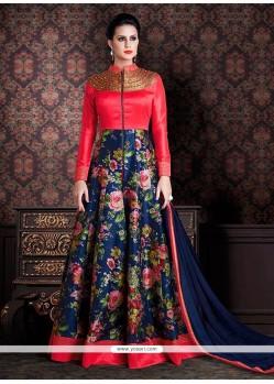 Marvelous Hot Pink And Navy Blue Anarkali Salwar Kameez
