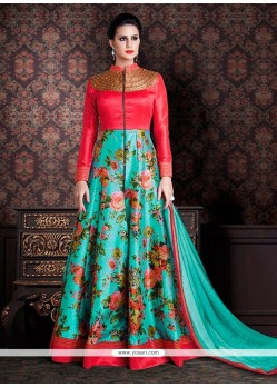 Trendy Print Work Blue Anarkali Salwar Kameez