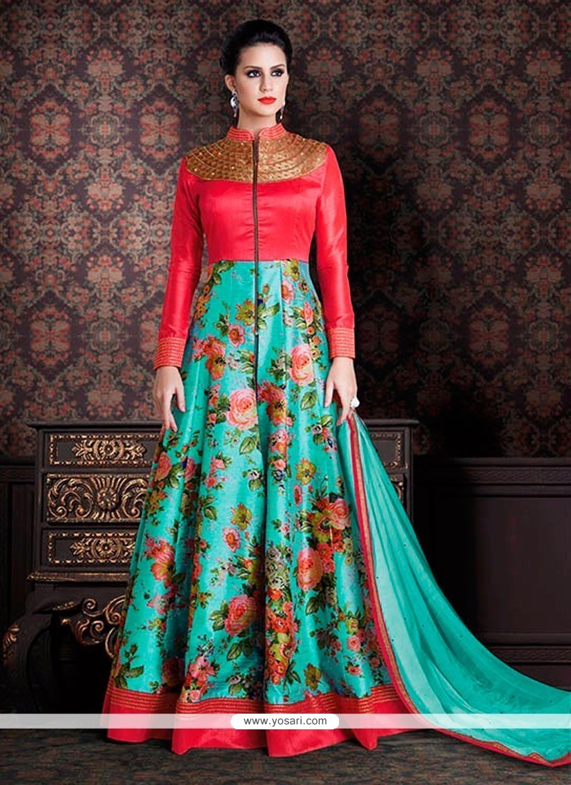 Buy Trendy Print Work Blue Anarkali Salwar Kameez Online