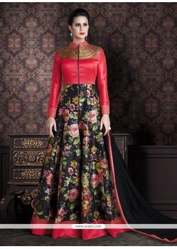 Opulent Black And Red Print Work Anarkali Salwar Kameez