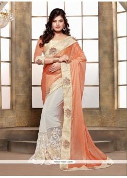 Patch Border Lycra Classic Designer Saree In Off White And Orange