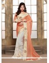 Patch Border Lycra Classic Designer Saree In Off White And Orange