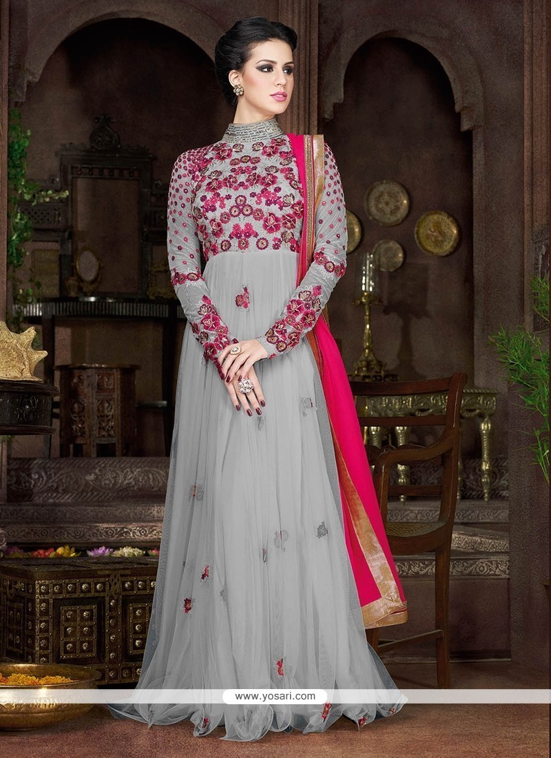 15886907e Buy Sterling Net Grey Resham Work Designer Floor Length Suit Online ...
