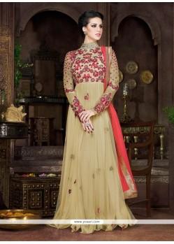 Beautiful Net Beige Designer Floor Length Suit