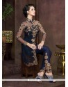 Chic Net Navy Blue Embroidered Work Pant Style Suit