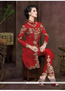 Artistic Resham Work Net Pant Style Suit