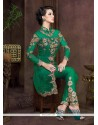 Invaluable Green Net Pant Style Suit