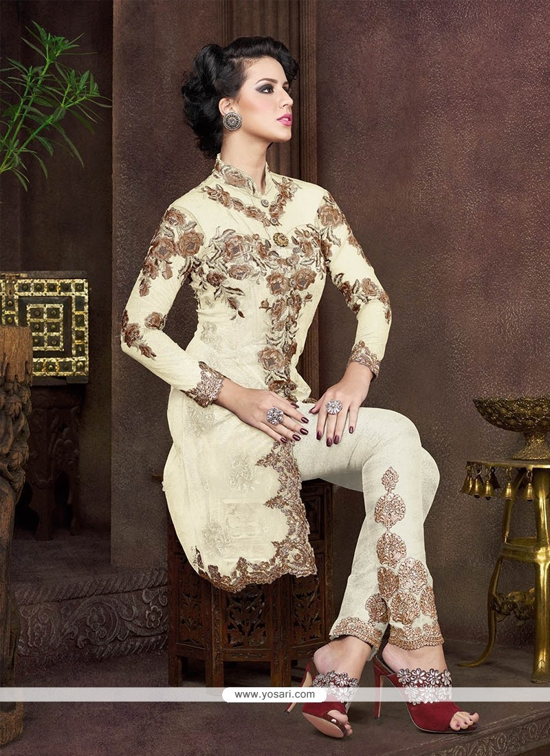 Stunning Net Embroidered Work Pant Style Suit