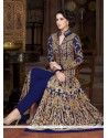 Enticing Blue Embroidered Work Net Pant Style Suit