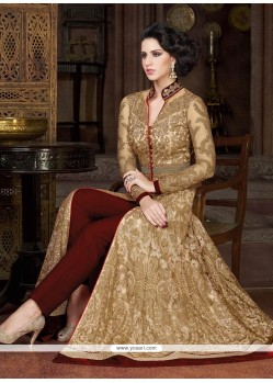 Deserving Embroidered Work Beige Pant Style Suit