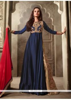 Strange Navy Blue Designer Floor Length Suit