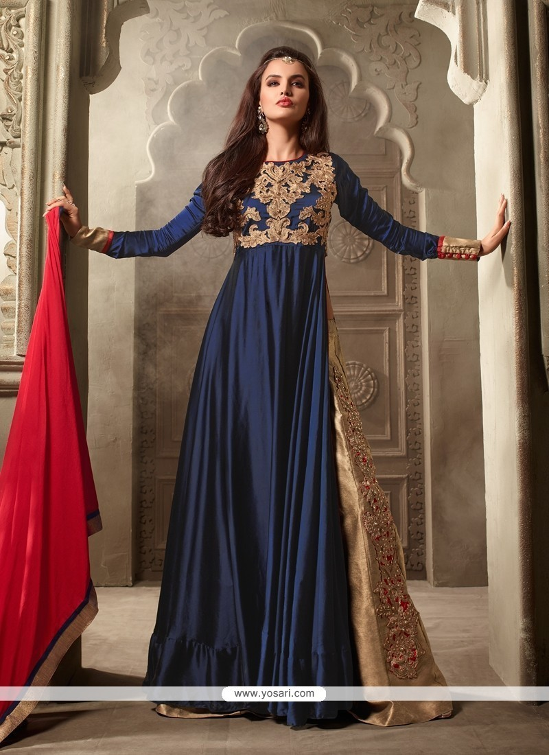 13fe7acbb3 Buy Strange Navy Blue Designer Floor Length Suit Online : UK, USA ...