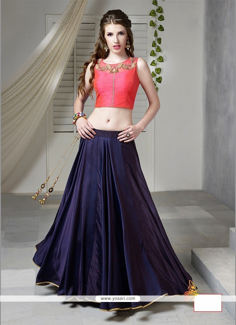 Embroidered Tussar Silk Designer Lehenga Choli In Navy Blue