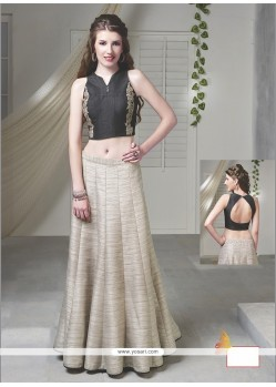Distinctively Embroidered Work Beige Raw Silk Designer Lehenga Choli