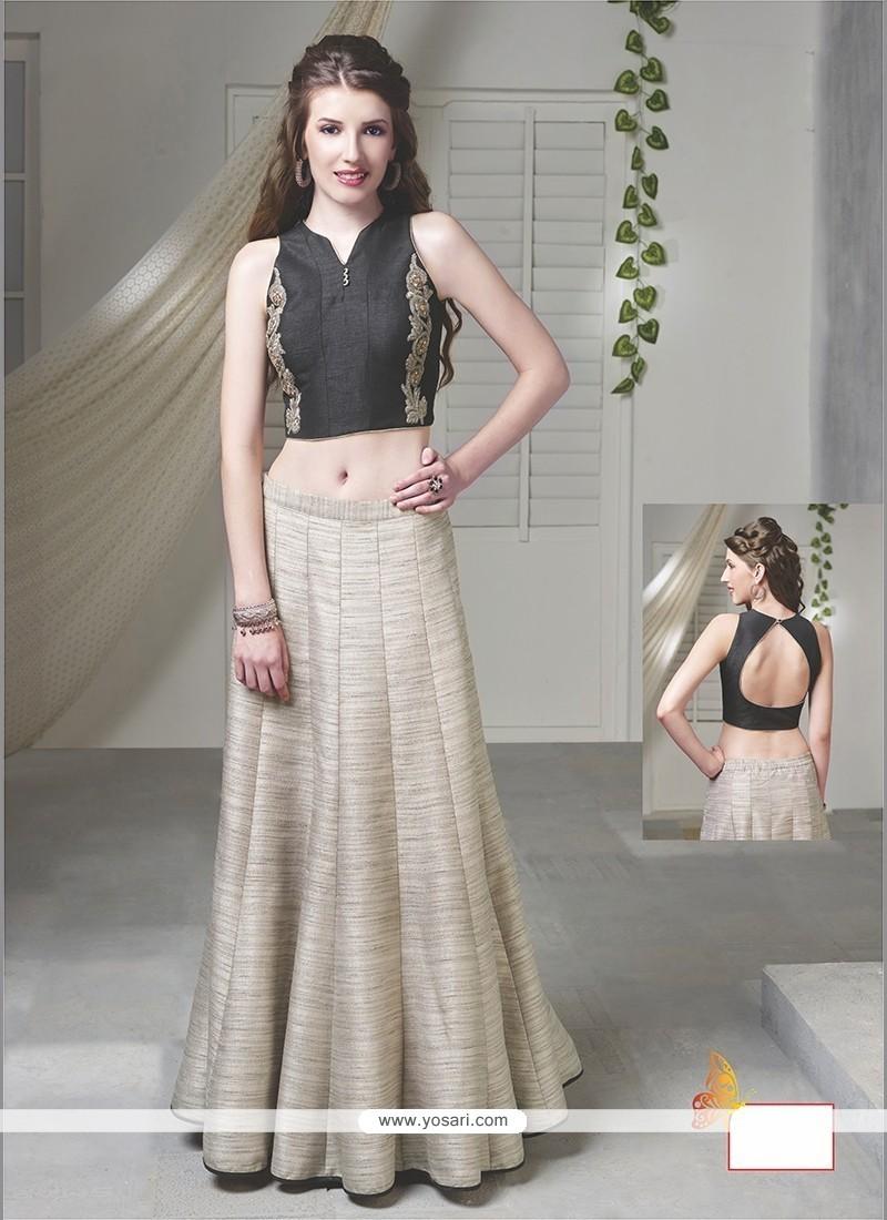 Distinctively Embroidered Work Beige Raw Silk Designer Lehenga Choli