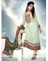 Green Pure Chiffon Churidar Salwar Suit