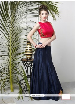 Ruritanian Tussar Silk Navy Blue Designer Lehenga Choli