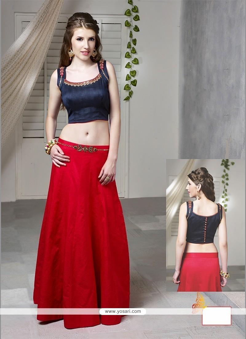 Intrinsic Raw Silk Red Designer Lehenga Choli