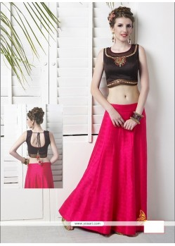 Ethnic Hot Pink Embroidered Work Raw Silk Designer Lehenga Choli