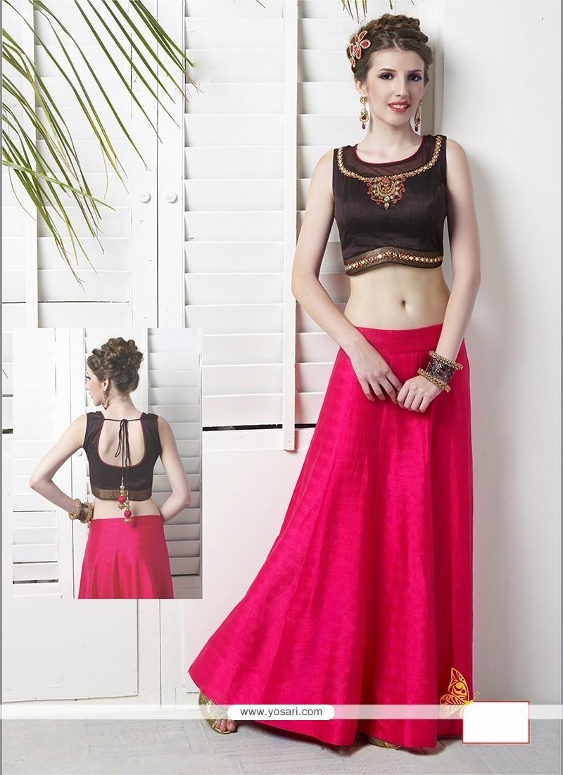 Ethnic Hot Pink Embroidered Work Raw Silk Designer Lehenga Choli
