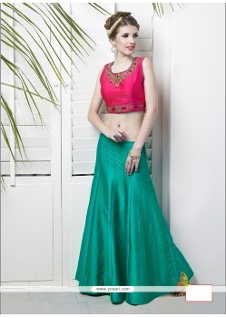 Beautiful Raw Silk Sea Green Designer Lehenga Choli