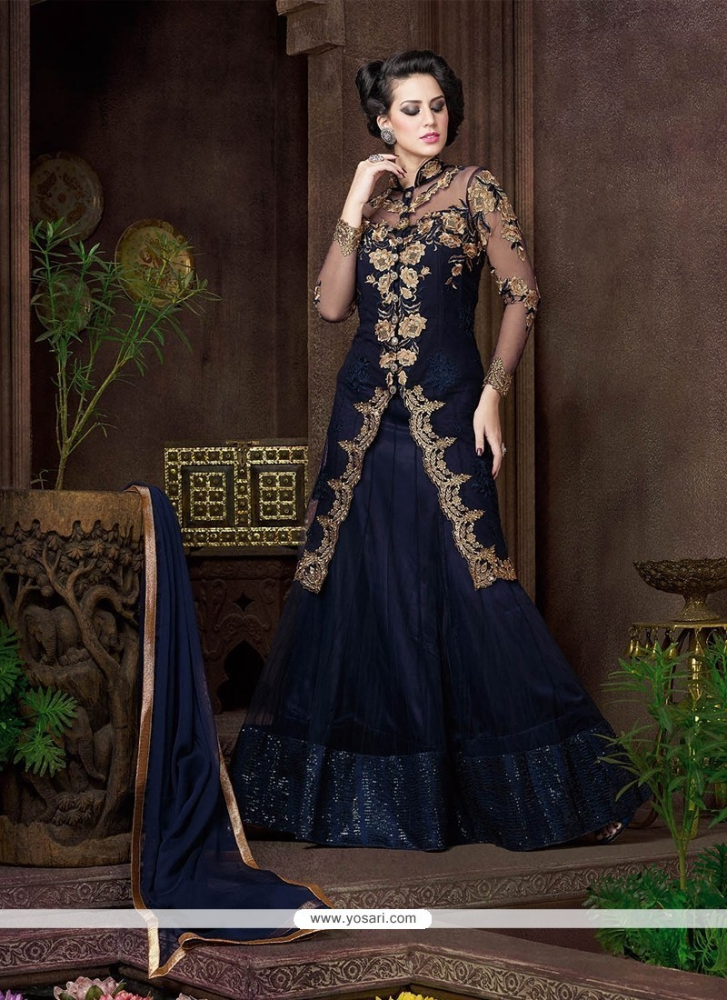 Sightly Navy Blue Resham Work Net Designer Lehenga Choli