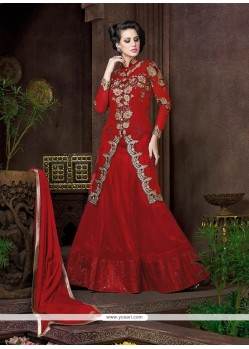 Gripping Red Resham Work Net Designer Lehenga Choli