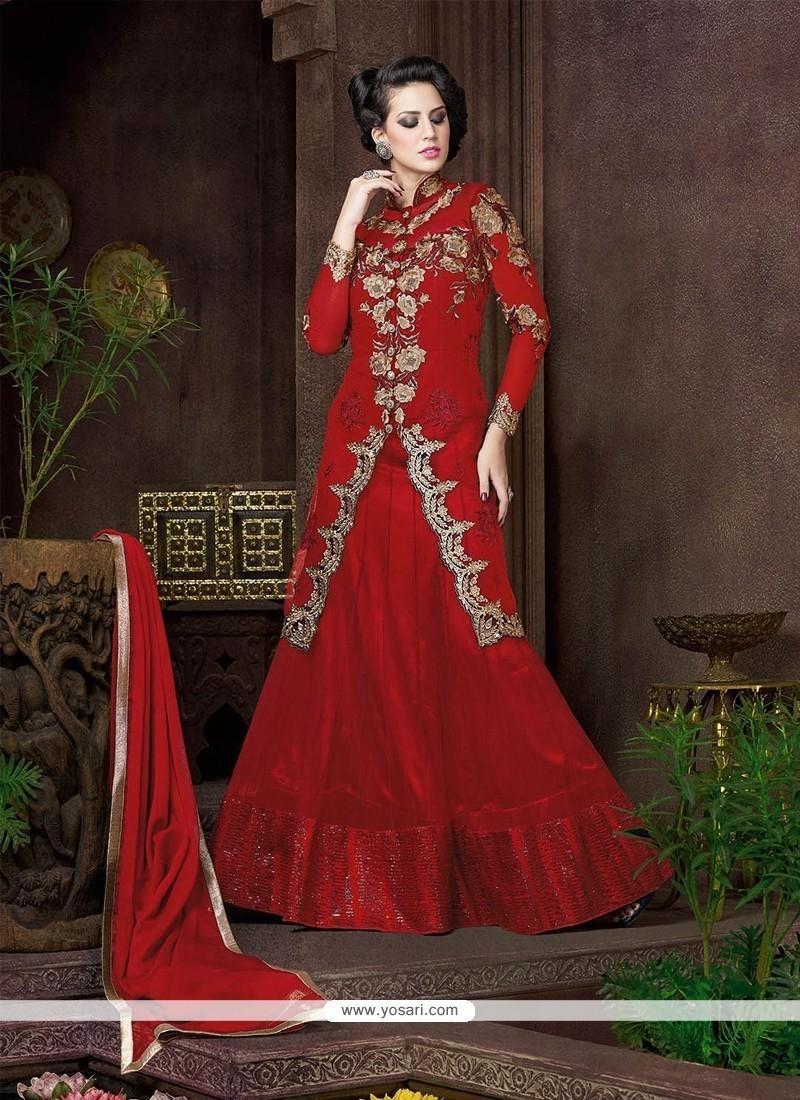 Gripping Red Resham Work Net Designer Lehenga Choli