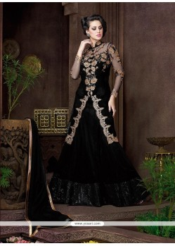 Tempting Black Embroidered Work Net Designer Lehenga Choli