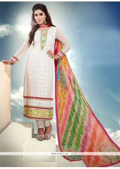 White Pure Chiffon Churidar Suit