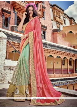 Gleaming Patch Border Work Faux Chiffon Classic Saree