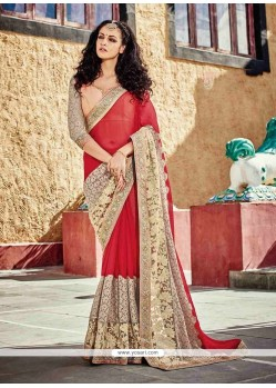 Fascinating Georgette Maroon Classic Designer Saree