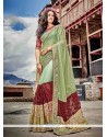 Renowned Patch Border Work Green Designer Saree
