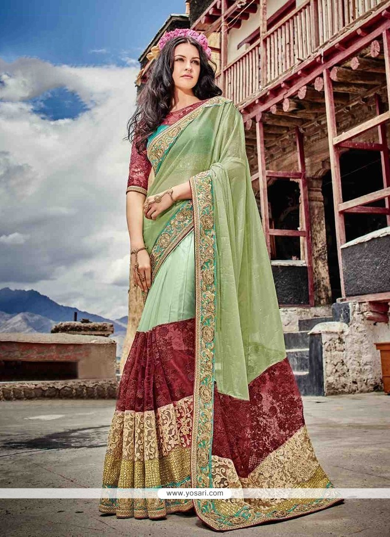 Renowned Patch Border Work Green Designer Saree