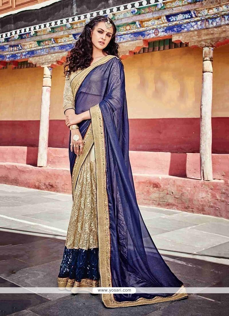 Ideal Beige Designer Saree