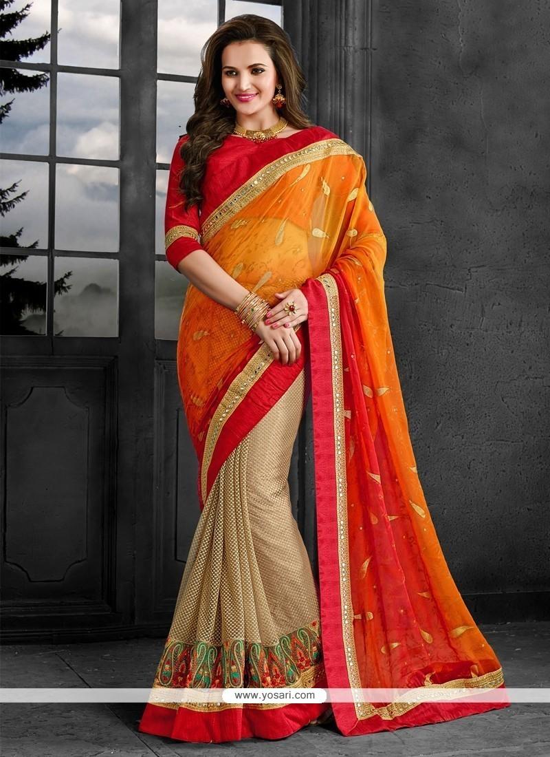 Impeccable Net Patch Border Work Classic Designer Saree