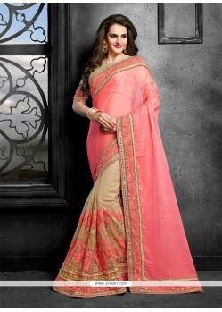 Tempting Faux Chiffon Pink Classic Saree