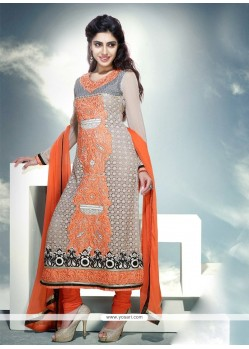 Grey And Orange Viscose Churidar Suit