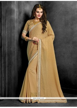 Orphic Beige Patch Border Work Bamber Georgette Designer Saree