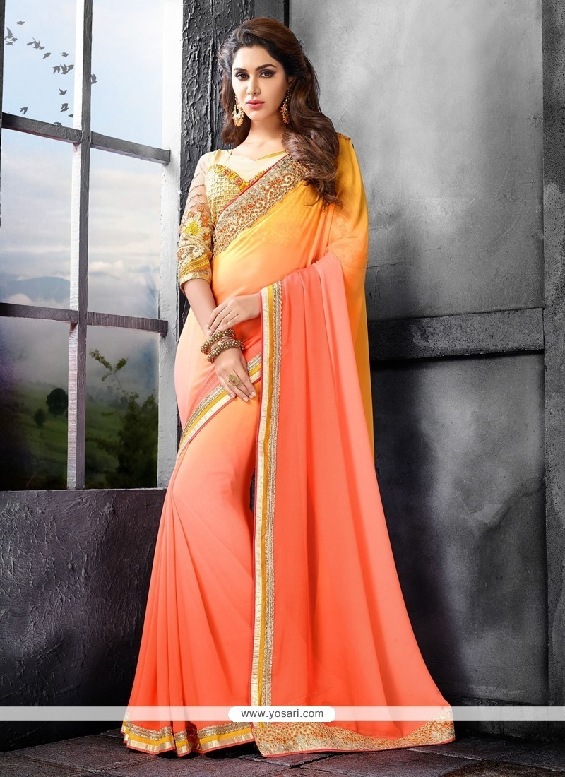 Astounding Peach Embroidered Work Fancy Fabric Saree