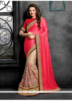 Excellent Beige Patch Border Work Net Classic Designer Saree